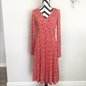 Boden✨red floral long sleeve faux wrap dress